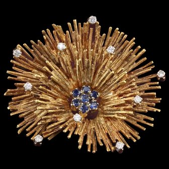 Vintage 18K Yellow Gold, Diamond and Sapphire Coral Brooch Pin