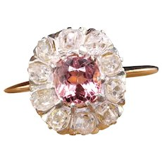 Antique Edwardian 18K Yellow Gold Tourmaline Old Cut Diamond Cluster Ring