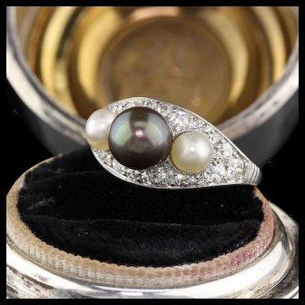 Art Deco Platinum, Diamond & Pearl 3-stone Ring