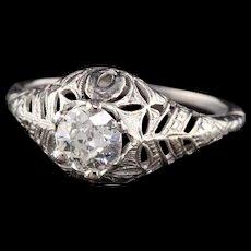 Art Deco Platinum Diamond Engagement Ring