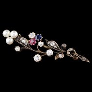Antique Victorian Yellow Gold & Old Cut Diamond Bouquet Brooch