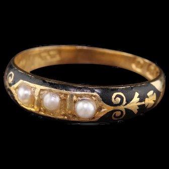 Circa 1836 - Antique Georgian 18K Yellow Gold Black Enamel & Pearl Mourning Ring