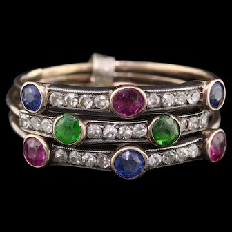Antique Victorian 14K Yellow Gold Diamond & Gemstone Stacking Bands Set of 3 -