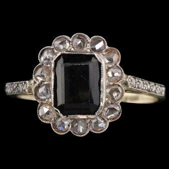 Antique Edwardian 14K Yellow Gold, Sapphire & Rose Cut Diamond Cluster Ring