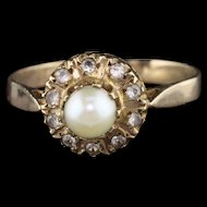 Antique Georgian 14K Yellow Gold Pearl & Paste Cluster Ring