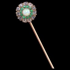 Antique Victorian 14K Rose Gold Opal & Paste Stick Pin
