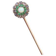 Antique Victorian 14K Rose Gold Opal & Paste Stick Pin