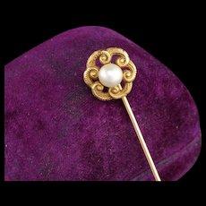 Antique Art Nouveau 14K Yellow Gold Pearl Stick Pin