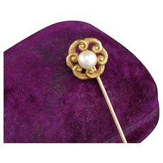 Antique Art Nouveau 14K Yellow Gold Pearl Stick Pin