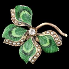 Antique Victorian 10K YG Enamel, Pearl & Diamond Leaf Pin