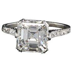 Vintage Art Deco Platinum 3 Carat Asscher Cut & French Cut Diamond Engagement Ring - GIA!