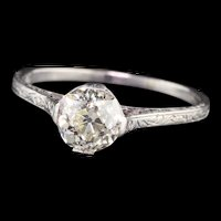 Edwardian Platinum 1.17 ct Old European Cut Diamond Engagement Ring - GIA!