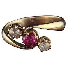 Antique Victorian 14K Yellow Gold Synthetic Ruby & Diamond 3-Stone Ring