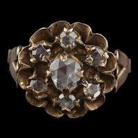Antique Georgian 10K Yellow & Rose Cut Diamond Cluster Ring