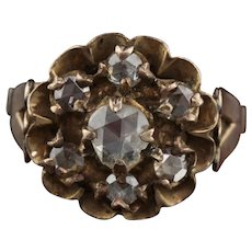 Antique Georgian 10K Yellow & Rose Cut Diamond Cluster Ring