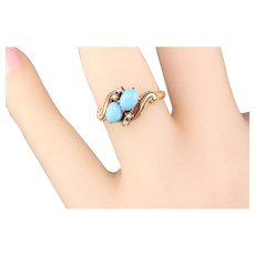 Antique Victorian 10K Yellow Gold Turquoise & Seed Pearl 'Toi Et Moi' Ring