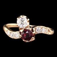 Antique Victorian 14K Rose Gold 'Toi Et Moi' Ruby & Diamond Engagement Ring