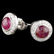 Art Deco Platinum Diamond & Cabochon Burmese Ruby Stud Earrings