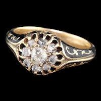 Antique Victorian 14K Yellow Gold Diamond & Black Enamel Cluster Engagement Ring