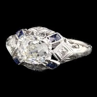 Antique Art Deco Platinum Old Mine Cut  Diamond & Sapphire Engagement Ring
