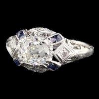 Antique Art Deco Platinum Old Mine Cut  Diamond & Sapphire Engagement Ring
