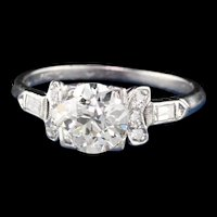 Antique Art Deco Platinum Diamond Engagement Ring - Size 5 1/2