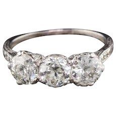 Antique Edwardian Platinum Diamond 3-Stone Engagement Ring