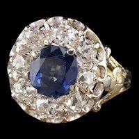 Antique Edwardian 18K Yellow Gold Platinum Top Ceylon Sapphire & Diamond Cluster Ring
