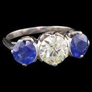 Art Deco Platinum Diamond & Ceylon Sapphire 3-Stone Engagement Ring