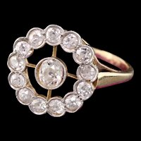 Antique Art Deco 18K Yellow Gold Platinum Top Diamond Engagement Ring