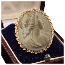 Antique 14K Yellow Gold Cameo Carved Stone Pin - Handmade