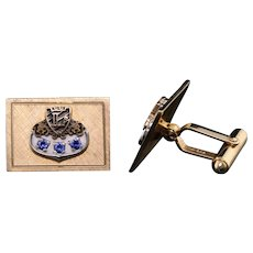 Vintage Estate 14K Yellow Gold, Enamel & Sapphire 'L' Initial Cufflinks