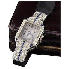 Antique Art Deco 18K White Gold Sapphire & Diamond Evening Watch