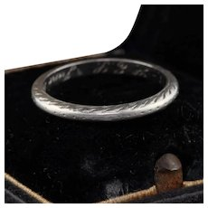 Circa 1924 - Antique Art Deco Platinum Engraved Wedding Band - Size 5