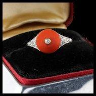 Antique Edwardian Platinum Diamond & Coral Button Ring
