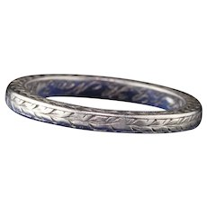 Circa 1929 - Antique Art Deco Engraved Platinum Wedding Band - Size 4
