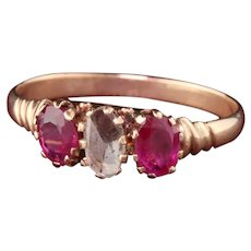 Antique Victorian 10K Rose Gold Rose Cut Diamond & Ruby 3-Stone Engagement Ring