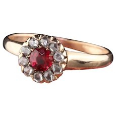 Victorian 10K Yellow Gold Rose Cut Diamond And Ruby Ring - Size 6 1/4