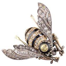 Antique Victorian 18K Yellow Gold, Platinum, Yellow Diamond & Rose Cut Diamond Bee Brooch