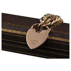 Antique Victorian 9K Yellow Gold Heart Lock Bracelet