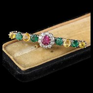 Antique Victorian 18K Yellow Gold Diamond, Burmese Ruby, Emerald & Yellow Sapphire Bar Brooch
