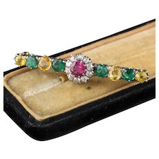 Antique Victorian 18K Yellow Gold Diamond, Burmese Ruby, Emerald & Yellow Sapphire Bar Brooch
