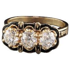 Antique Victorian 14K Yellow Gold Diamond & Black Enamel 3 Stone Engagement Ring
