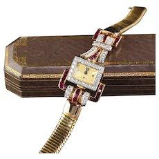 Vintage Retro 18K Yellow Gold Diamond & Ruby Watch