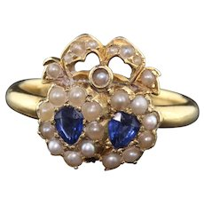 Antique Victorian 18K Yellow Gold, Sapphire & Seed Pearl Double Heart Ring