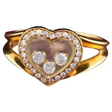 Vintage Chopard 18K Yellow Gold Happy Diamonds Heart Ring