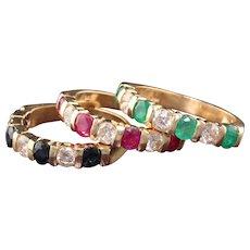 Vintage Estate 14K Yellow Gold Diamond Ruby Sapphire Emerald Stacking Rings - Set of 3!