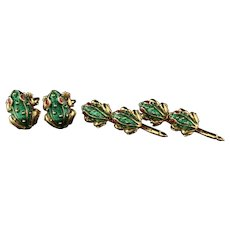 Vintage 18K Yellow Gold Frog Cufflink And Button Shirt Set