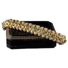 Vintage 18K Yellow Gold Diamond & Emerald Bracelet