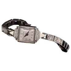 Antique Art Deco 14K White Gold Perregaux Diamond Watch